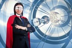 De man met rode dekking in super heldenconcept Stock Foto