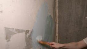De man op de sjofele grijs-witte muur was met een borstel en een blauwe verf van toepassing stock videobeelden