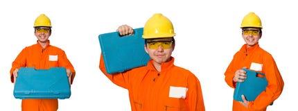 De man in oranje die overtrekken op wit wordt geïsoleerd Stock Fotografie
