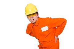 De man in oranje die overtrekken op wit wordt geïsoleerd Stock Foto