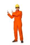 De man in oranje overtrekken Stock Foto