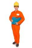 De man in oranje overtrekken op wit Royalty-vrije Stock Afbeeldingen