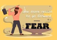 De man slingert een sleehamer op het aambeeld Gestileerde vectorheld in een vlakke stijl De tekst van vrees is één meer reden Stock Foto's