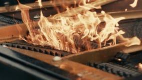 De man speelt grote piano - allen op brand stock videobeelden