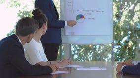 De man trekt een grafiek tijdens de presentatie in het bureau stock videobeelden