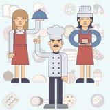 De man van de chef-kokkok en vrouw, serveerster Stock Foto's