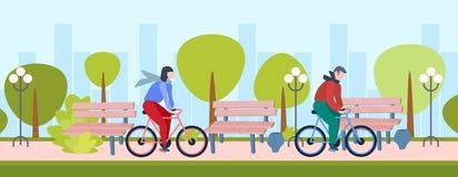 De man van het de levensstijlconcept van de paar berijdende fiets gezonde vrouw het cirkelen van de de activiteitenstad van de fi vector illustratie