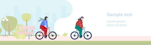 De man van het de levensstijlconcept van de paar berijdende fiets gezonde vrouw het cirkelen van de de activiteitenstad van de fi stock illustratie