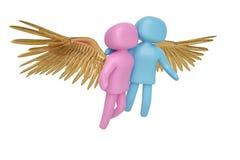De man van het liefdeconcept en vrouw met en gouden vleugels 3D Illustratie Stock Illustratie