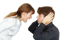De man wil niet luisteren schreeuwen van vrouwen Royalty-vrije Stock Fotografie