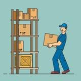 De man zet doos op rek De koerierswerken bij pakhuis De dienst van de levering Vectoroverzichts vlakke illustratie Stock Foto's