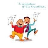 De manager en de cliënt zijn gelukkig om contract ondertekend te hebben Regels van succesvolle verkoop Stap 5 Vector Illustratie
