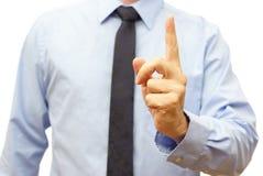 De manager tijdens de vergadering toont zorgvuldig teken ben stock foto's