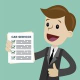 De manager van de autodienst houdt controlelijst van diagnostiek De vectorillustratie van het beeldverhaal Stock Afbeelding