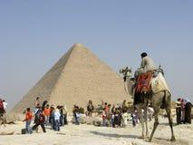 De Manager van de kameel in Giza Stock Afbeeldingen