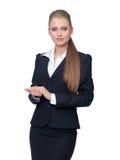 De manager van de vrouw in een kostuum royalty-vrije stock fotografie