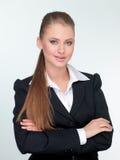 De manager van de vrouw in een kostuum stock foto's