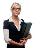 De manager van de vrouw met een omslag stock afbeeldingen