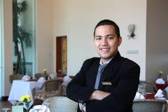 De manager van het restaurant op het werk Stock Afbeelding