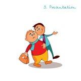 De manageradviseur geeft een presentatie Regels van succesvolle verkoop Stap 3 Royalty-vrije Illustratie