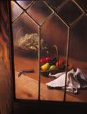 De Mand & het venster van het fruit stock afbeeldingen