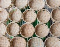 De Mand van de waterhyacint is Milieuvriendelijke Hand bewerkte Housewares stock foto