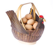 De Mand van eieren op Witte Achtergrond stock afbeelding