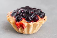 De Mand van het dessertgebakje met Bessen op Gray Background Isolated Sluit omhoog Voedseldessert Macro stock foto's