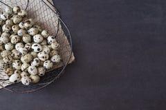 De mand van het draadnetwerk met kwartelseieren donkere voedselfotografie Rustieke achtergrond, selectieve nadruk en verspreid na Stock Foto's