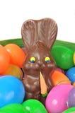 De mand van Pasen met eieren en konijn Stock Fotografie