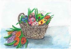 De mand van Pasen met kleurrijke eieren royalty-vrije illustratie