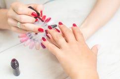 De manicure schildert de spijkers van vrouwen Royalty-vrije Stock Foto's