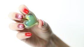 De manicure van de spijkerkunst met hart Royalty-vrije Stock Fotografie