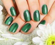 De manicure van vrouwen met effect van kat-oog gelpoetsmiddel Stock Foto's