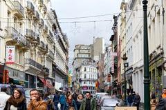 De manier aan de Winter is Markt in Brussel benieuwd Royalty-vrije Stock Afbeeldingen