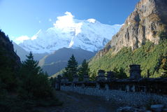 De manier aan Ghyaru, Annapurna, Nepal Stock Foto's