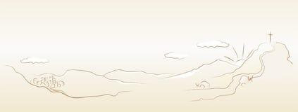 De manier aan kruis Golgotha royalty-vrije illustratie