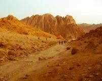De manier aan Mousa Mountain - Zuid-Sinai - Egypte Stock Foto's