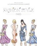 De manier reclamefolder met reeks mooie vrouwenmodellen, het adreskaartje van Parijs, schoonheidsmeisjes overhandigt getrokken il Stock Foto's