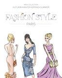 De manier reclamefolder met reeks mooie vrouwenmodellen, het adreskaartje van Parijs, schoonheidsmeisjes overhandigt getrokken il Stock Afbeeldingen