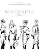 De manier reclamefolder met reeks zwart-witte mooie vrouwenmodellen, het adreskaartje van Parijs, schoonheidsmeisjes overhandigt  Royalty-vrije Stock Foto