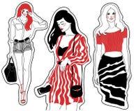 De manier schetst mooie meisjes royalty-vrije illustratie