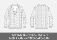 De manier de technische schetsmensen aran breien enig-breasted cardigan stock fotografie