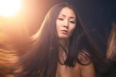 Portret van Aziatische vrouw Stock Afbeeldingen
