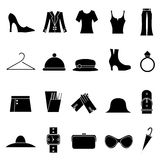 De manier van de vrouw en klerenpictogrammen Royalty-vrije Stock Fotografie