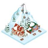 De manier van de de vakantiegondel van de skitoevlucht De activiteitensport van de de winter openluchtvakantie in alpen, landscha stock illustratie