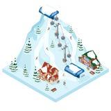 De manier van de de vakantiegondel van de skitoevlucht De activiteitensport van de de winter openluchtvakantie in alpen, landscha royalty-vrije illustratie