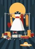 De manierillustratie met binnenlands hoogtepunt van knoeit van zakken, schoendozen, schoenen, toebehoren en kleding Hanger met kl Royalty-vrije Stock Foto