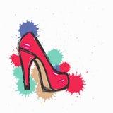 De manierillustratie, vectorschets, hoog merkrood hielt schoenachtergrond met inkt Stock Fotografie