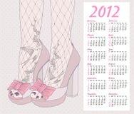 de manierkalender van 2012. Achtergrond met schoenen. Royalty-vrije Stock Fotografie
